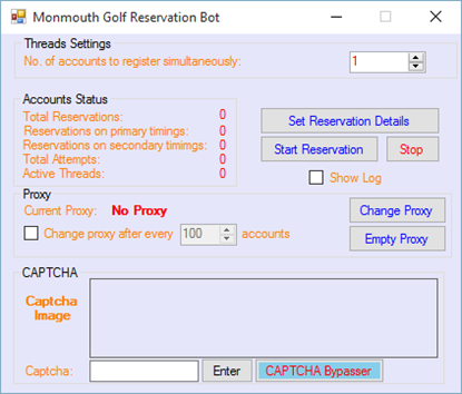 Picture of Monmouth Golf Resevation Bot
