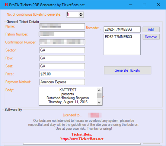 Picture of ProTix PDF Tickets Generator