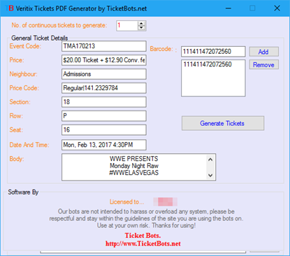 Picture of Veritix Tickets PDF Generator