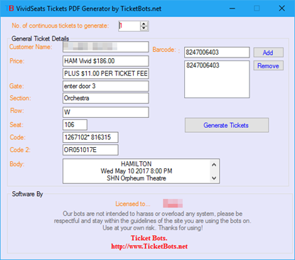 Picture of SHN Tickets PDF Generator