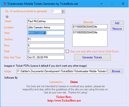 Imagen de Ticketmaster Mobile Tickets (PDF) Generator