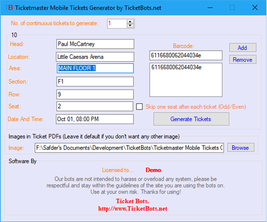 Picture of Ticketmaster Mobile Tickets (PDF) Generator
