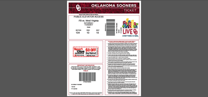 Picture of Oklahoma Sooners Tickets PDF Generator