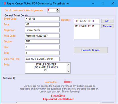 Picture of Staples Center Tickets PDF Generator
