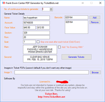 Imagem de Frank Erwin Tickets PDF Generator
