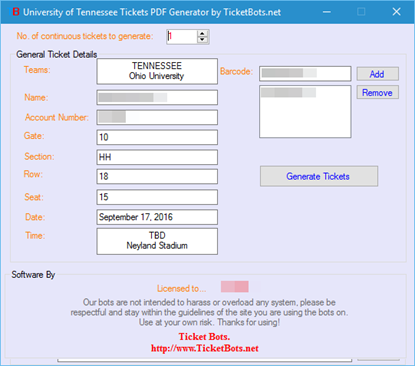 Imagen de University of Tennessee Tickets PDF Generator