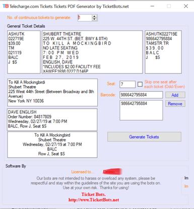 Imagem de Telecharge.com Tickets PDF Generator