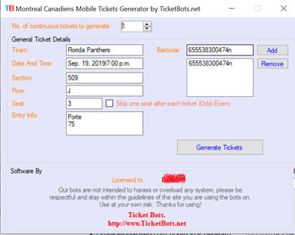 Immagine di Montreal Canadiens Mobile Tickets PDF Generator