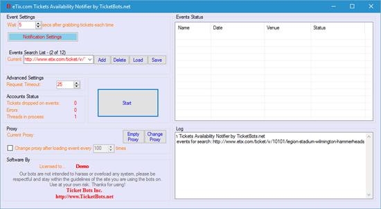 Image sur eTix.com Low Tickets Notifier