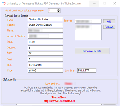 Immagine di University of Alabama Tickets PDF Generator