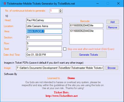 Imagen de Ticketmaster Mobile Tickets (PDF) Generator
