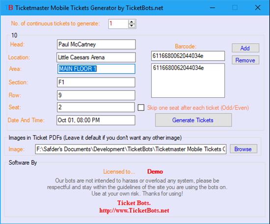 Imagem de Ticketmaster Mobile Tickets (PDF) Generator
