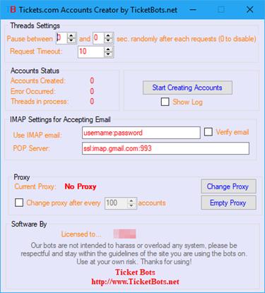 Imagem de Tickets.com Account Creator Bot
