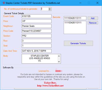 Imagem de Staples Center Tickets PDF Generator