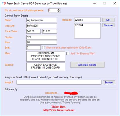Immagine di Frank Erwin Tickets PDF Generator