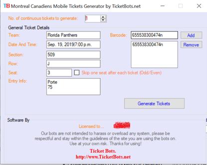 Immagine di Montreal Canadiens Mobile Tickets PDF Generator